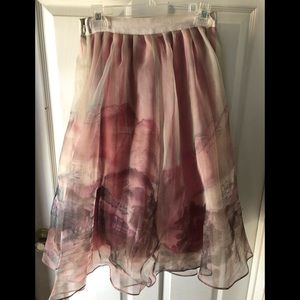 Anthropologie Moulinette Soeurs Train print skirt